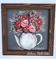 tea pot with Flowers, Farmhouse Art