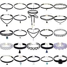 Tpocean 25PCS Black Velvet Lace Choker Necklace Set With Pendant Gothic Tattoo Adjustable Necklace For Women