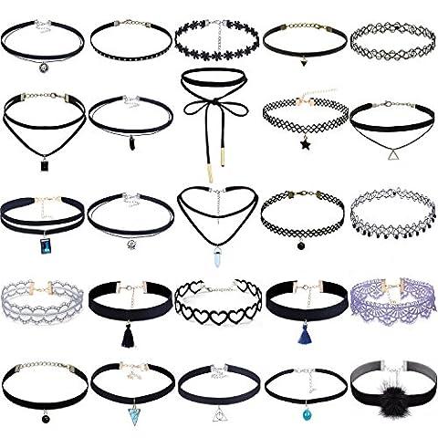 Tpocean 25PCS Black Velvet Lace Choker Necklace Set With Pendant Gothic Tattoo Adjustable Necklace For (Lace Choker)