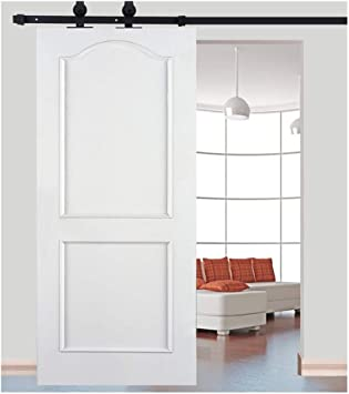 Kit de riel para puerta corredera de hierro, polea de riel colgado, sistema de puerta interior, granero, armario, de baño, 183 cm/200 cm, negro: Amazon.es: Bricolaje y herramientas