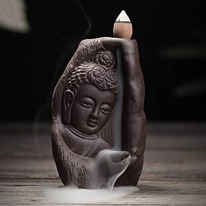 LIUSHI Blackflow Smoke Incense Burner Lotus Gourd Waterfall Ceramic Incense Censer Home Buddhism Office Decor