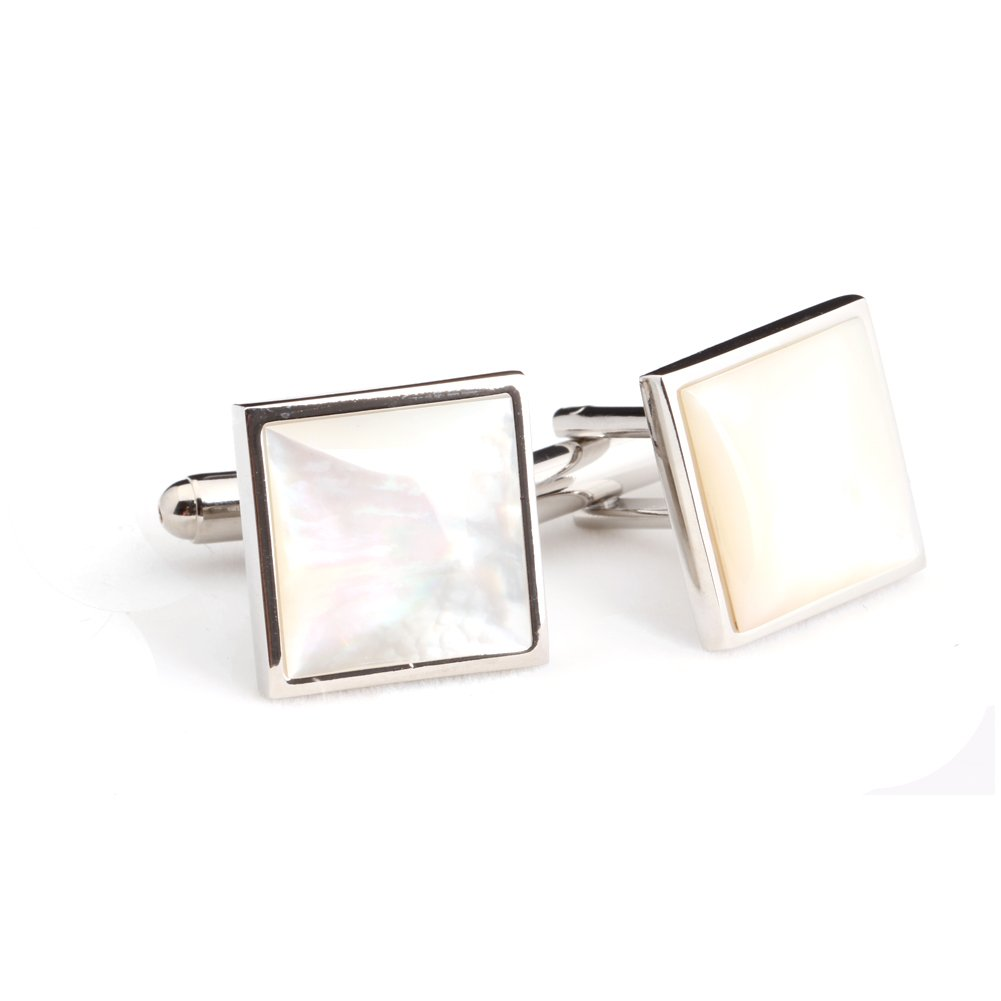 Digabi Fashion Men's Jewelry Luxury Crystal Square Cufflinks for Wedding Party Color Silver