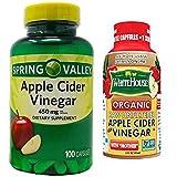 Spring Valley Apple Cider Vinegar 450 mg (100 Capsules) + One 2 oz Travel Size Bottle of White House Organic Apple Cider Vinegar with Mother ON-The-Go Bottle