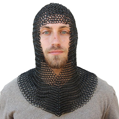Chain Mail Coif Black Chainmail Hood Knight Armor Reenactment Costume Larp (Costume Medievale Ebay)