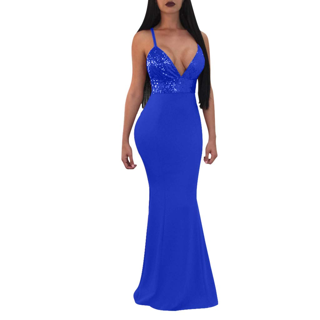ZOMUSAR 2019 Women Formal Prom Party Ball Gown Sexy Sleeveless Backless Long Dresses Blue
