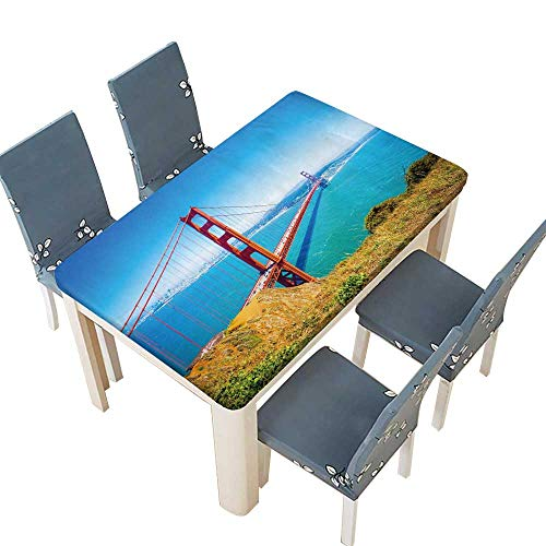 PINAFORE Decorative Tablecloth Golden gate Bridge in san Francisco California USA Daytime Table Cover for Dining Room and Party W25.5 x L65 INCH (Elastic Edge)