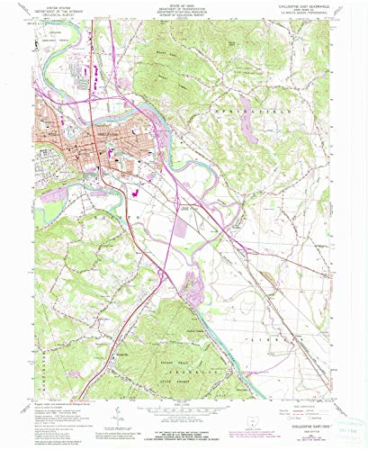 YellowMaps Chillicothe OH topo map, 1:24000 Scale, 7.5 X 7.5 Minute, Historical, 1961, Updated 1985, 27 x 22.1 in - Polypropylene
