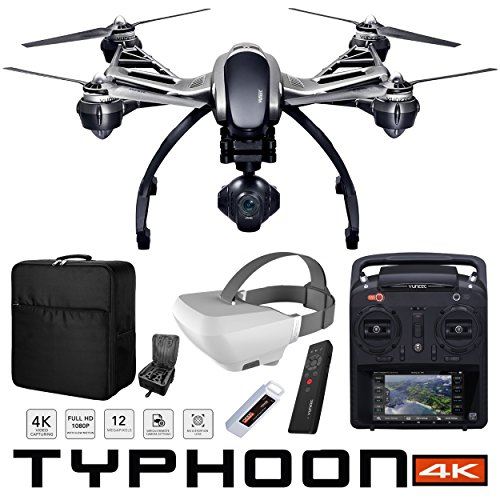 Yuneec Typhoon 4K Q500 RTF Hexacopter Drone Fly More Combo with CGO3 4K UHD Camera ST10+ Controller Wizard Wand SkyView FPV Display Headset LiPo 5400mAh Battery and Custom Backpack Bundle