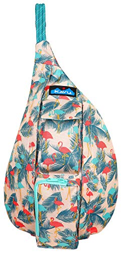 - KAVU Mini Rope Sling Bag Crossbody Polyester Backpack - Flamingo Fest