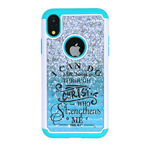 iPhone Xs Max Case,Christ Quotes Bible Verse Philippians 4:13 Studded Rhinestone Bling Hybrid Dual-Layer Shock Absorption Anti Scratch Protective Case Cover for iPhone Xs Max 6.5