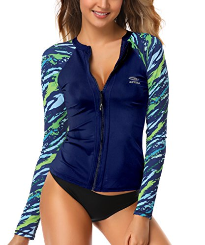 AXESEA Women's Long Sleeve Rash Guard Bathing Suits Printed UV Sun Protection Swim Shirt (US 12(Read Seller Size Chart in Image), Blue2)