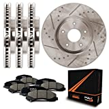 Front + Rear Premium Slotted & Drilled Rotors and Ceramic Pads Brake Kit KT104033 | Fits: 2011 11 2012 12 2013 13 Honda Odyssey