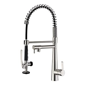 GICASA Commercial Style Heavy Duty Solid Brass Coiled Spring Kitchen Sink Faucets, Stainless Steel Pull Out Sprayer Bar Sink Faucet, Brushed Nickel