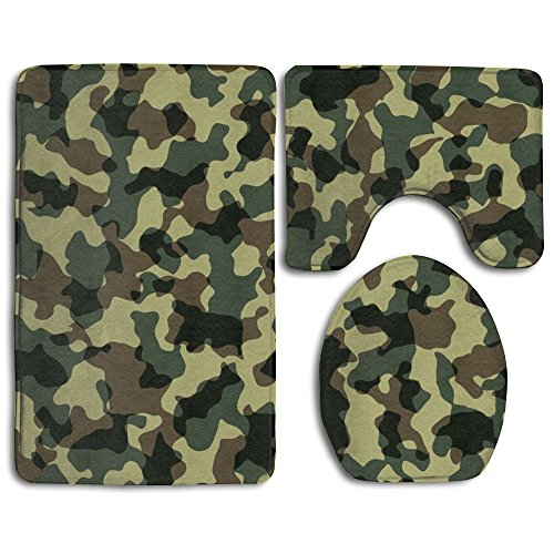 room Accessories Bath Rug Sets 3 Piece Bathroom Non-Slip Floor Mats Camouflage Camo Military Style Pedestal Rug + Lid Toilet Cover + Bath Mat For Kids Womens (Military Floor Mat)