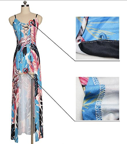 1 Off Beach Strap Floral Spaghetti Women's Split Dress Party Romper Maweisong Shoulder Maxi Print 4Owzq15x5