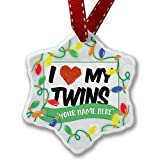 Personalized Name Christmas Ornament, I Love my Twins NEONBLOND