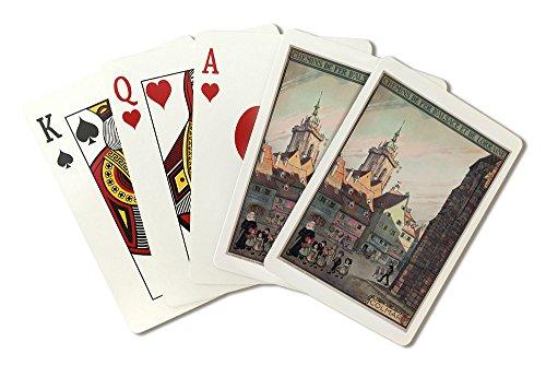 Colmar - Chemins de Fer d'Alsace et de Lorraine Vintage Poster (artist: Hansi) France c. 1921 (Playing Card Deck - 52 Card Poker Size with Jokers)