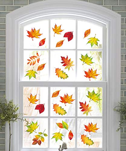 240PCS Fall Leaves Window Clings – Thanksgiving Maple Decorations Autumn Decals Party Decor Ornaments
