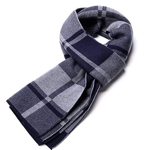 WXL Plaid Series High Grade Men Scarf Leisure Business Thick Winter Keep Warm 180cm×30cm V (Color : Blue)