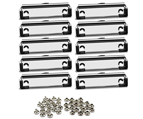 Meetory 10 Pack Mountable Clipboard clips,Spring Loaded Surface Mount Handle with Rubber Grip and Hanging Hole
