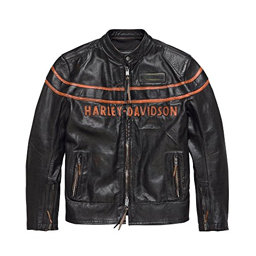 Harley-Davidson Official Men's Double Ton Slim Fit Leather Jacket, Black (Medium) ()
