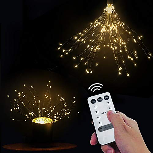 2 Pack Firework Lights, LED String Light, 8 Modes 148 LED Dimmable Fairy Lights, LED Decorative Lights DIY Led Light for Christmas, Home, Patio, Indoor and Outdoor as A Decoration (148 White)