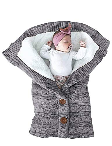 XMWEALTHY Unisex Infant Swaddle Blankets Soft Thick Fleece Knit Baby Girls Boys Stroller Wraps Baby Accessory Grey (Baby Unisex Bassinet)