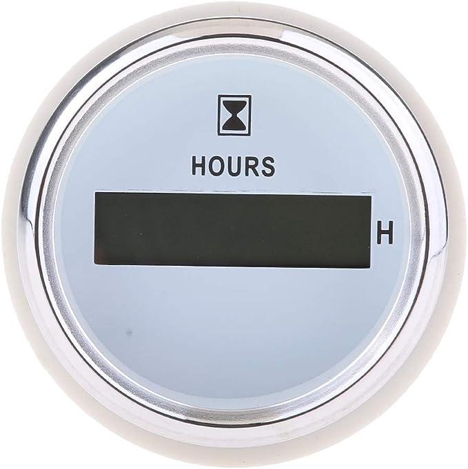 Homyl 1 Stück Betriebsstundenzähler 52mm Digital Stundenzähler Mit Betriebsstundenzähler Runde Gauge Wasserdicht Weiß Auto