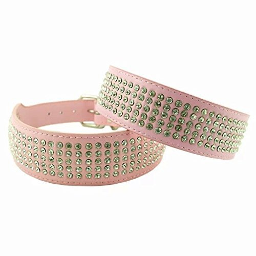 Dogs Kingdom 15-24'' 5 Rows Rhinestone Studded Leather Dog Collar Crystal Rhinestone Dog Collar Pink by Dogs Kingdom