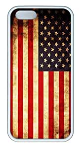 IMARTCASE iPhone 5S Case, Old Retro Vintage American Flag Case for Apple iPhone 5S/5 TPU - White by lolosakes by lolosakes