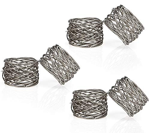 ITOS365 Handmade Round Mesh Napkin Rings Holder for Dinning Table Parties Everyday, Set of 6 (Napkin Ring)
