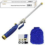 high pressure water wand - Power Washer Wand - Water Hose Nozzle, Cleaning Gloves, Garden Hose Sprayer for Car Wash and Window Washing, 2 tips-one is power jet stream, one is fan action (18 inches)