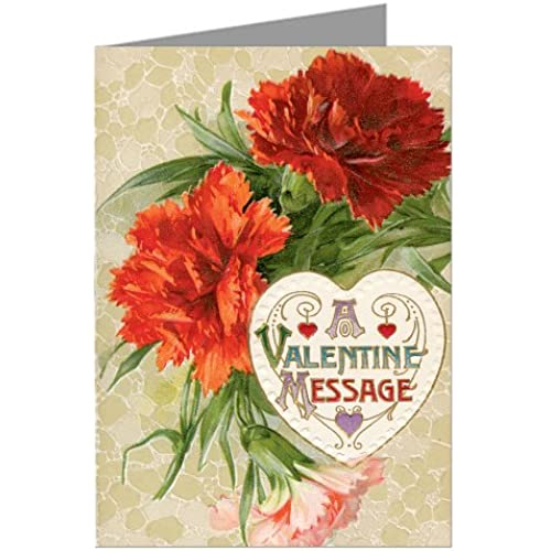 Valentines Day Greeting Cards with Carnation Vintage Floral Message Sales