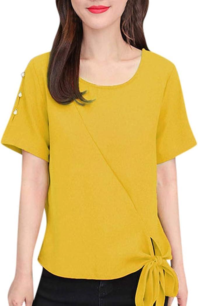 Linkay 2019 - Camiseta de Manga Corta para Mujer, Estilo Informal ...