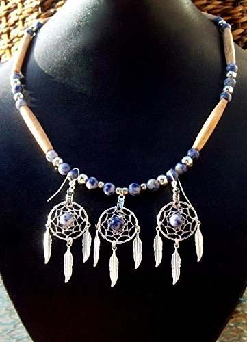 (DREAMCATCHER NECKLACE & EARRING set, DENIM LAPIS, Native American made, Dream catcher necklace, Dream catcher earrings, Boho, tribal, Indian)