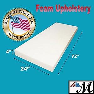 "Mybecca Upholstery Foam Cushion(Seat Replacement, Upholstery Sheet, Foam Padding), 4"" H x 24"" W x 72"" L"