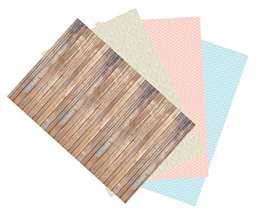 Blue Dot Display (Ella Bella Photography Backdrop Paper, Assorted Designs (1 ea.: Vintage Wood, Classic Damask, Dots- Soft Pink & Baby Blue), 48