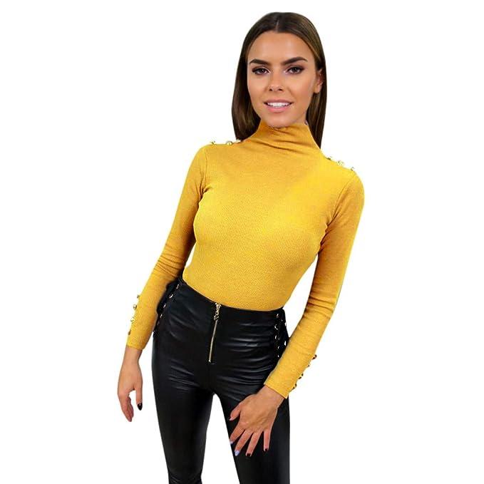 Damen Gestreift Rollkragen Pullover Slim Freizeit Sweatshirt Sweatjacke Oberteil