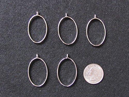 5 Silver OVAL Open Bezels for Resin, Open Back Bezel Pendant Blanks for Jewelry Making -