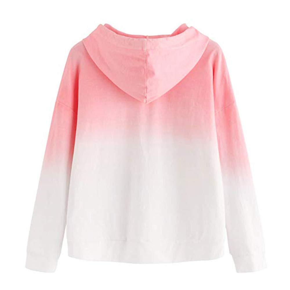 Simayixx Sweatshirts for Women Teen Girls Color Gradient Patchwork Sweatshirt Loose Hoodie Pullover Jackets Tops