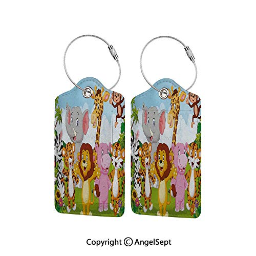 Flexible Travel Leather Luggage Tag,Comic African Savannah Animals Playful Friendly Safari Jungle Happy Wildlife Nature Decorative 4 PCS,With Name ID Card Perfect to Quickly Spot Luggage Suitcase