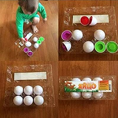 Gonikm 6Pcs Kids Infant Toddler Simulation Eggs Color Shape Matching Egg Set Educational Development Puzzle Toy Pegged Puzzles Toy Kids Education Toy for Kids Boys Girls: Toys & Games