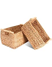 Decorasian Kosz do przechowywania pleciony z hiacyntu wodnego – trawa morska długa i wąska z drewnianym uchwytem