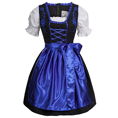 Gaudi-leathers Women's Set-3 Dirndl Pieces Embroidery 44 Blue/Black (German Ladies Traditional Dress)