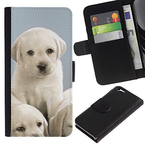 EuroCase - Apple Iphone 6 4.7 - Labrador cute small puppies white - Cuir PU Coverture Shell Armure Coque Coq Cas Etui Housse Case Cover