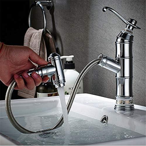 キッチン水栓 デッキマウント洗面所冷たいお湯引き出しシンクの蛇口クロームカラーセラミックバルブフル銅高級クラスシングルハンドル浴室の蛇口プルダウンスプレー付きヨーロッパスタイル真鍮盆地水栓 キッチンとバスルームに適しています