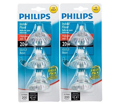 Philips 415687 Indoor Flood 20-Watt MR16 12-Volt Light Bulbs 3Pk x2 (Flood 20w Bulb)