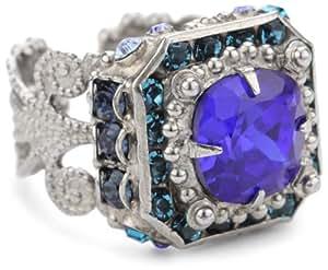 "Sorrelli ""Electric Blue"" Crystal Adjustable Silver-Tone Ring"
