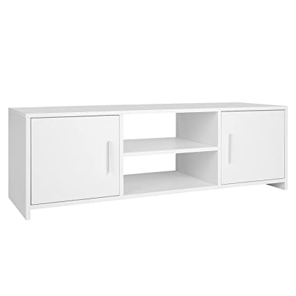 Tremendous Homfa Tv Stand Cabinet Tv Unit Wooden Tv Bench Modern Storage Cabinet With 2 Doors Shelves For Living Room White 110 35 36Cm Machost Co Dining Chair Design Ideas Machostcouk
