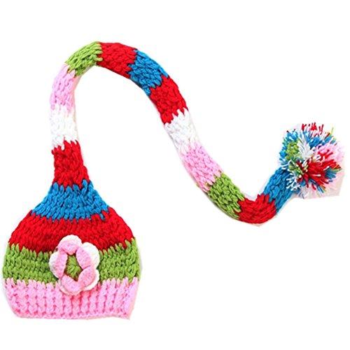 Kafeimali Baby Christmas Elf Long Tail Crochet Beanie Knit Hat Stocking Caps (Flower)